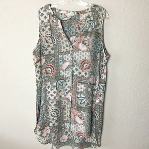 SPENSE Sleeveless Floral Button Up Tunic - XL